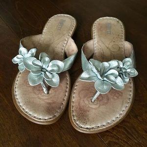 Born Silver Flower Flip Flop